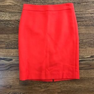 Jcrew no2 double serge wool pencil skirt sz00 Red